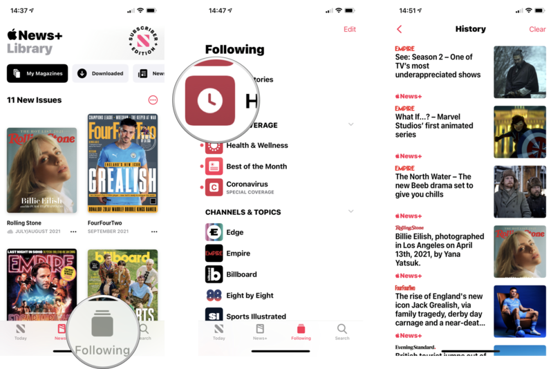 How to view your history: Tap on Following, tap on History