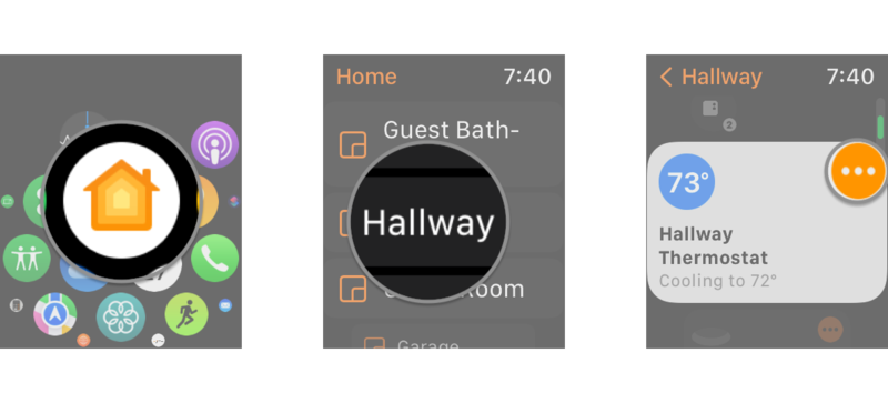 How to control your HomeKit thermostats in the Home app on the Apple Watch by showing steps: Launch the Home app, Tap the Room where your Thermostat is located, Tap the Ellipsis button on your Thermostat