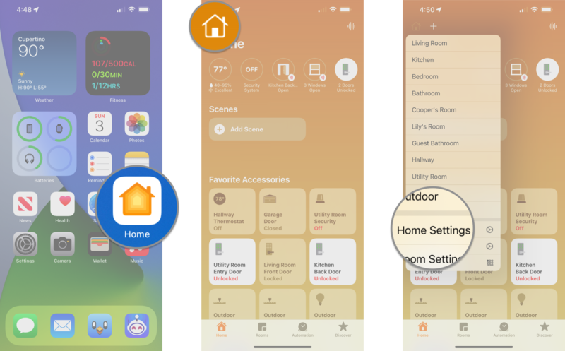 How to disable notification settings in the Home app on the iPhone by showing steps: Launch the Home app, Tap the House icon, Tap Home Settings