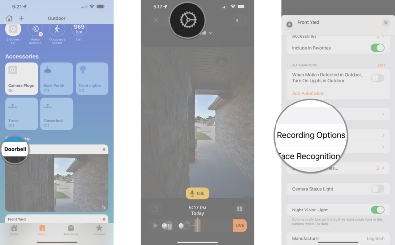 How to disable camera recording options in the Home app on the iPhone by showing steps: Tap camera thumbnail, Tap the Settings icon, Tap Recording Options