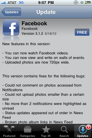 Facebook 3.1.3 for iPhone