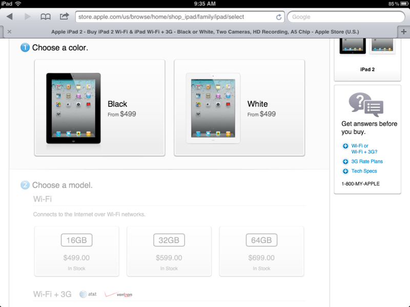 Apple Online makes it easier to order an iPad 2