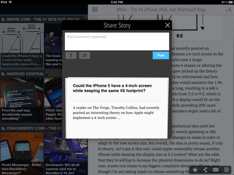 Share stories to Facebook and Twitter with Pulse for iPad