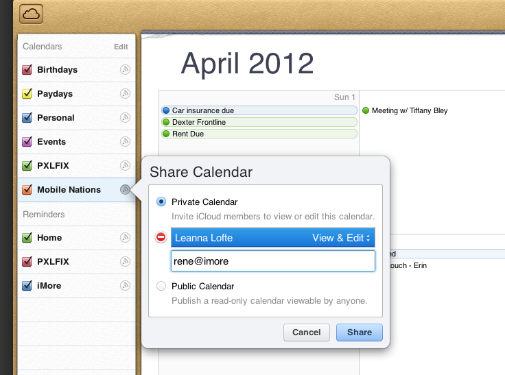 How to share a calendar from iCloud.com