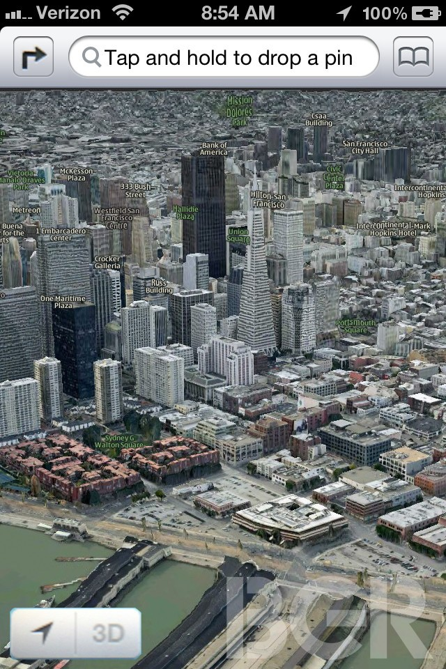 Screenshots of iOS Maps app with 3D buildings surfaces