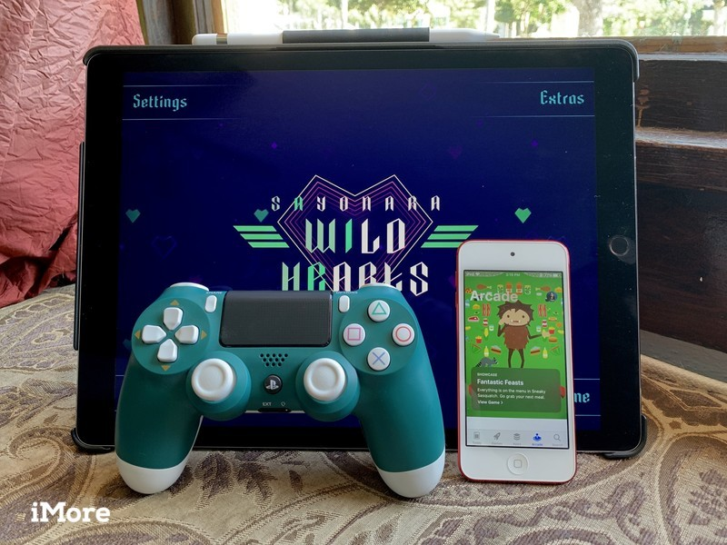 Sayonara Wild Hearts and Apple Arcade with a DualShock 4 controller