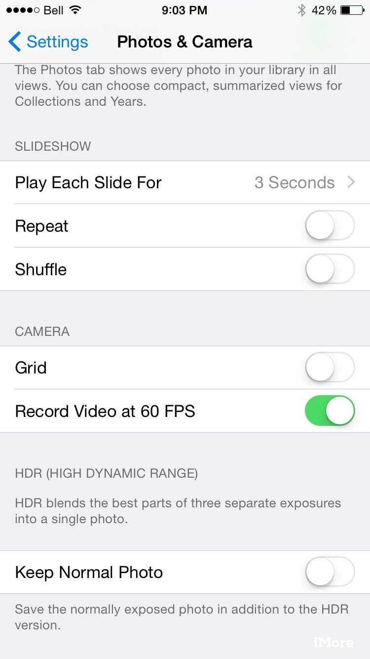 iPhone 6 camera settings