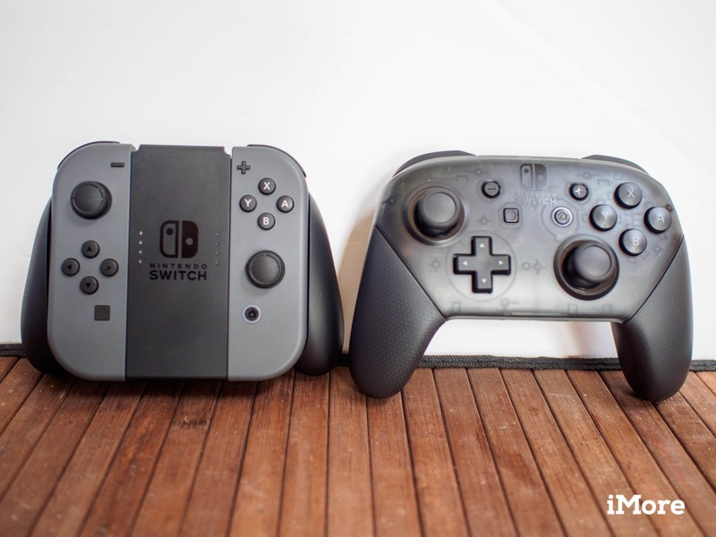 Joy-Con controllers next to Pro Controllers