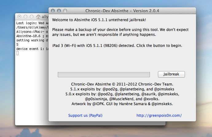 Absinthe running on OS X Mountain Lion