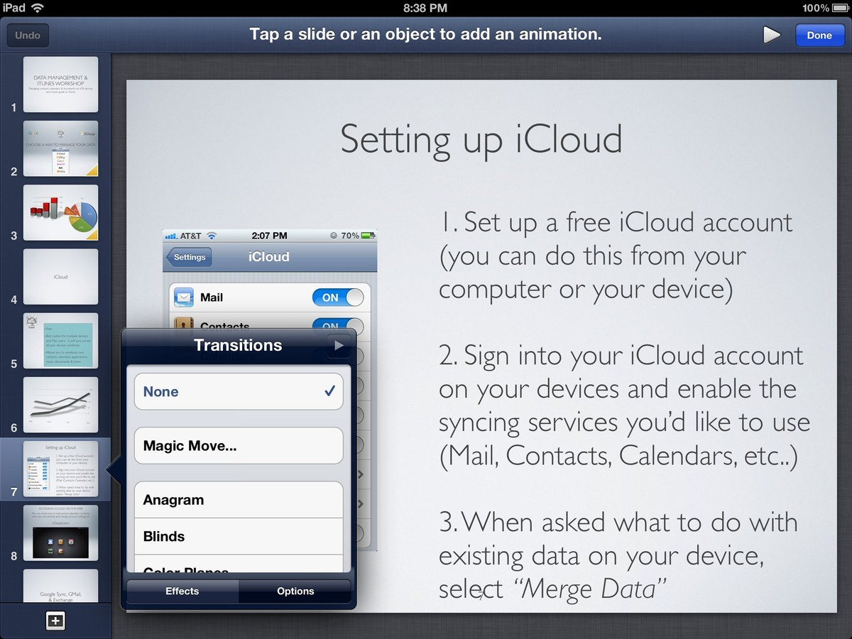 Keynote for iPad general user interface