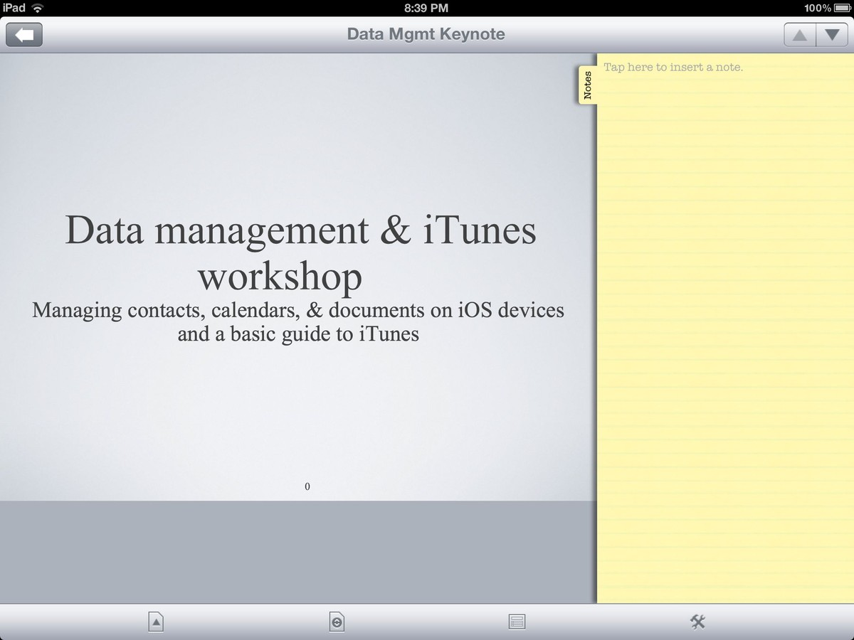 Docs To Go editing presentations on iPad