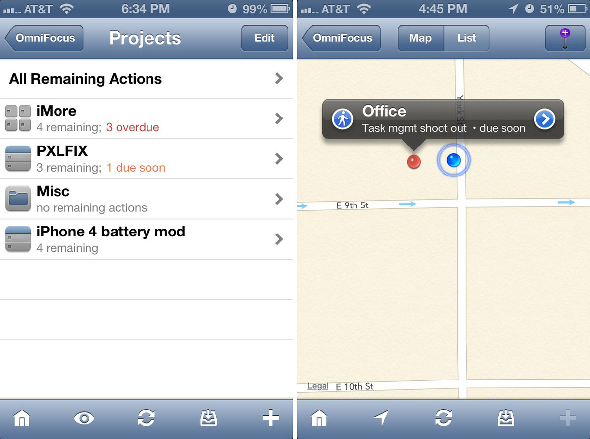 OmniFocus for iPhone maps and project view