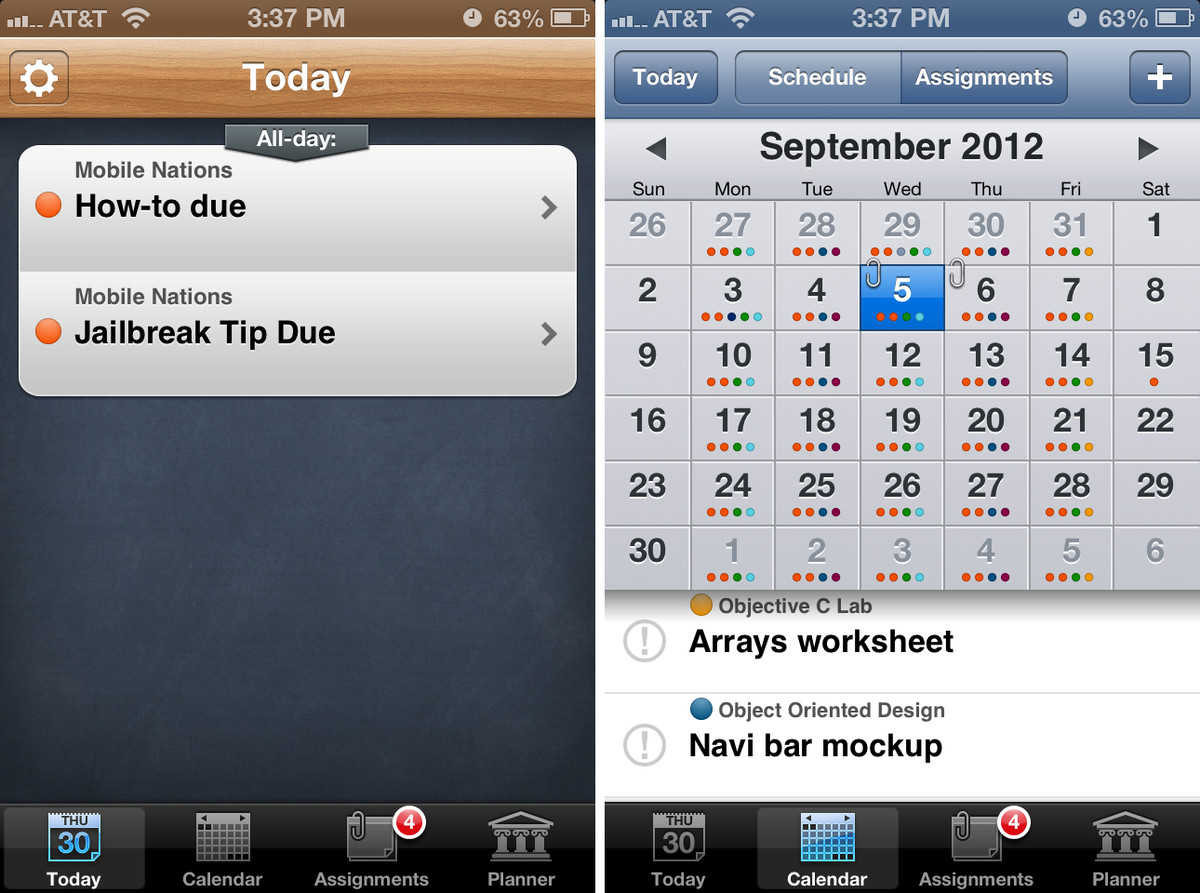 iStudiez Pro for iPhone user interface