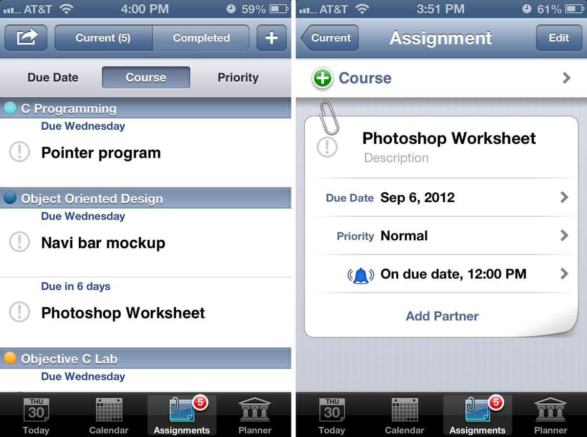 iStudiez Pro for iPhone adding assignments and tasks