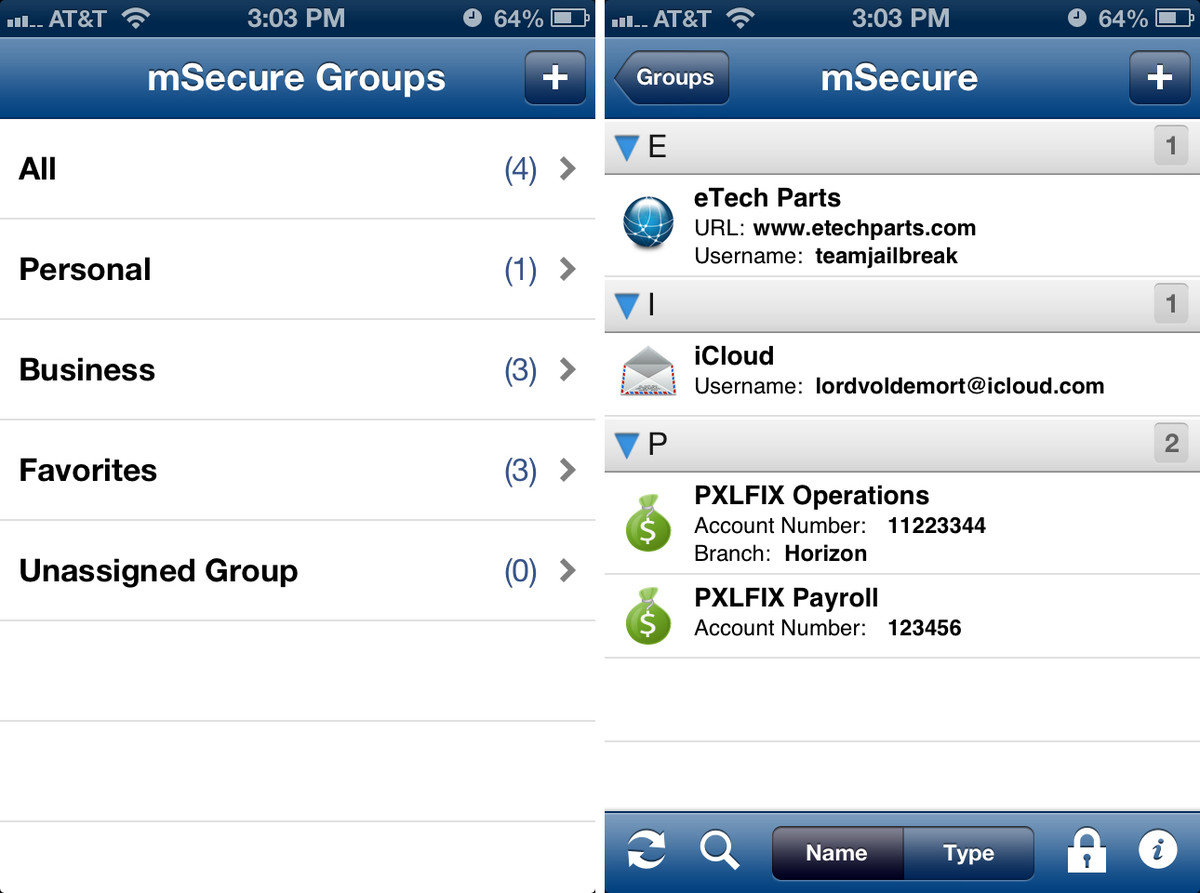 mSecure for iPhone user interface