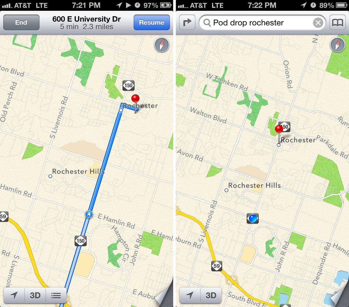 iOS 6 Maps directions differences