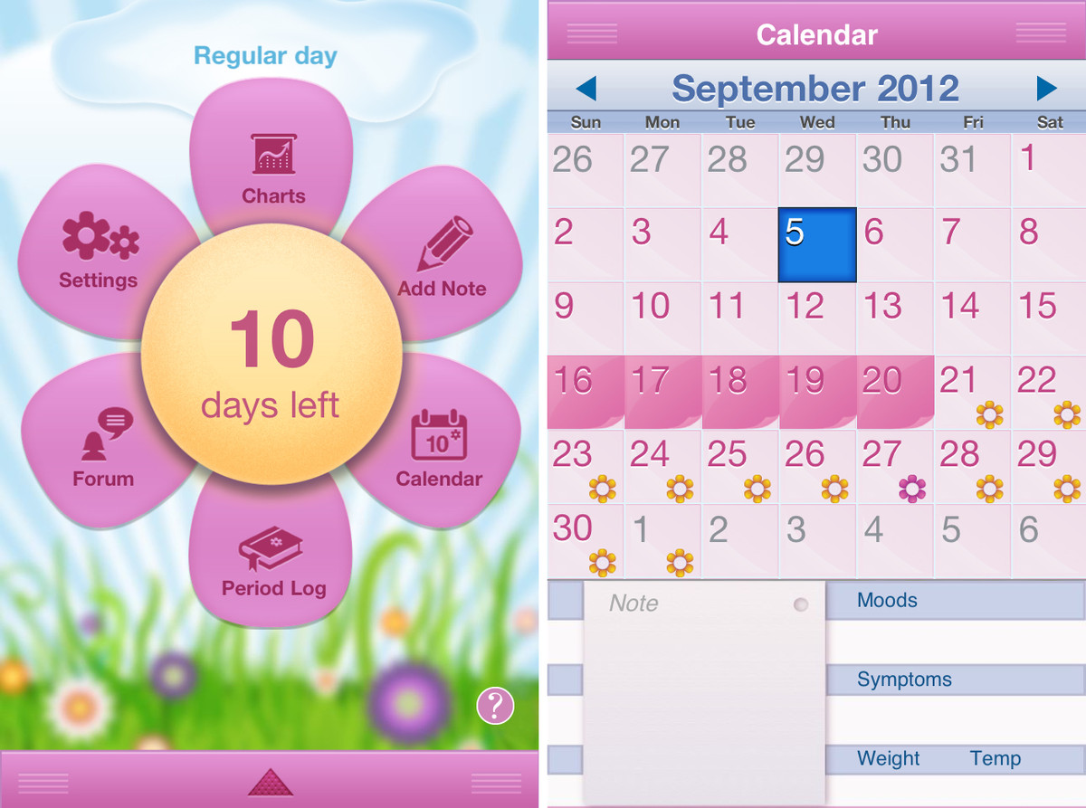 period diary for iphone ui