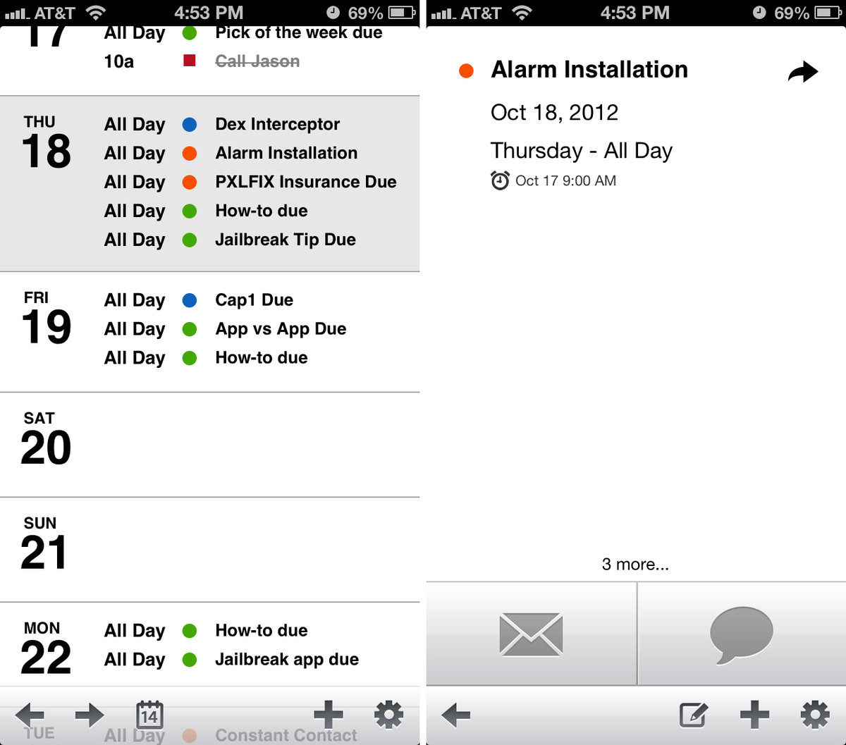 agenda for iphone UI