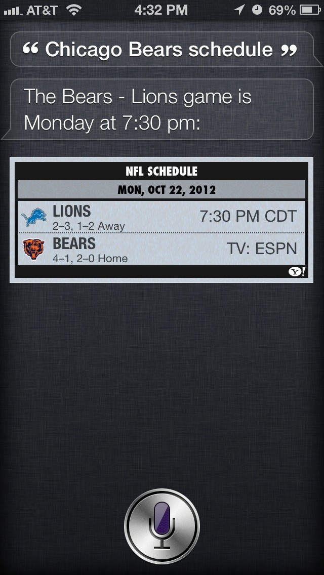 siri schedule for sports