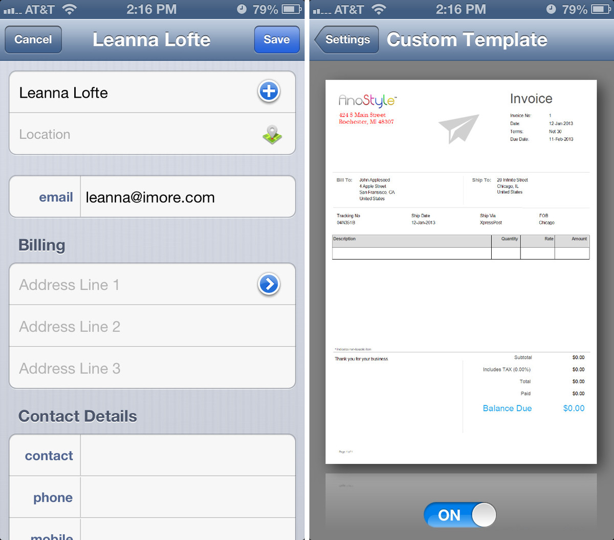 best iphone invoicing app for freelancers | imore, Invoice examples