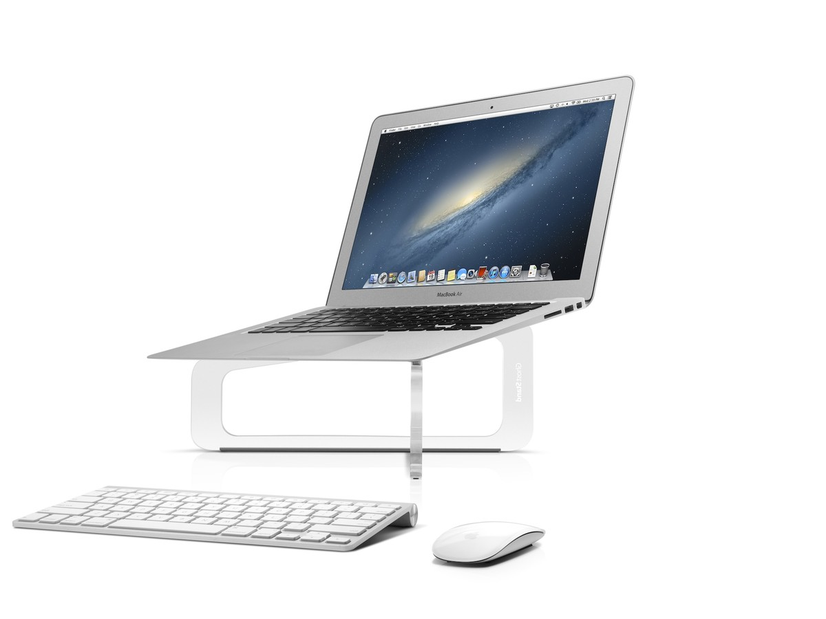 GhostStand elevates your MacBook six inches on transparent rails