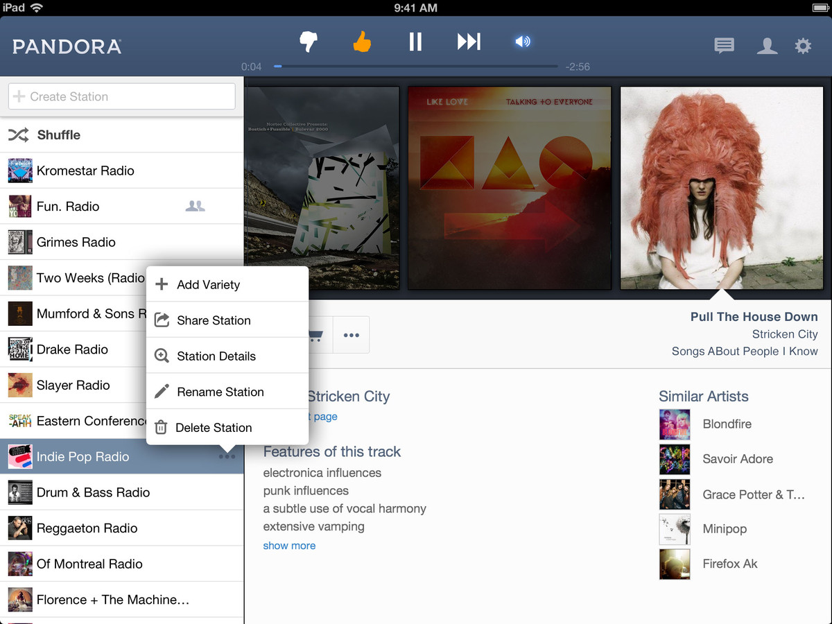 Pandora for iPad adds new features, deeper info, social sharing