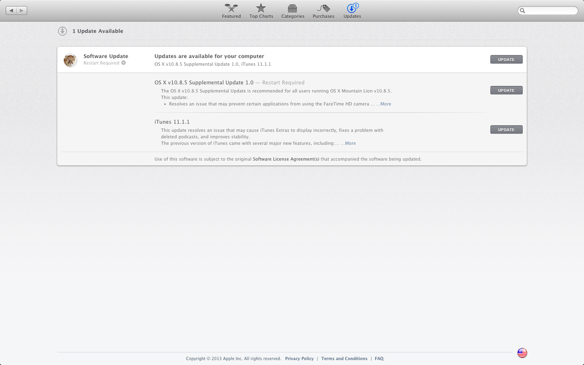 Apple releases supplemental update to OS X 10.8.5, iTunes 11.1.1