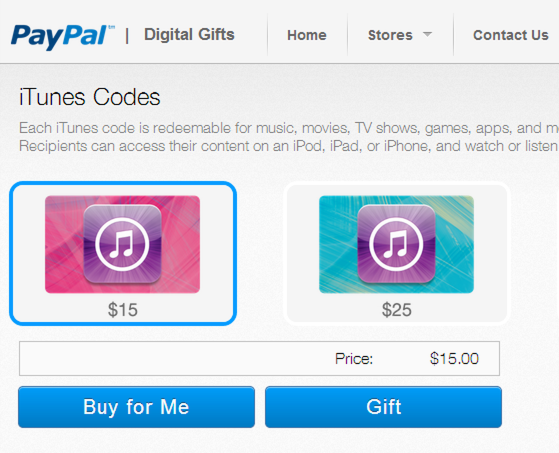 paypal launches digital gifts store now selling itunes vouchers imore. Black Bedroom Furniture Sets. Home Design Ideas