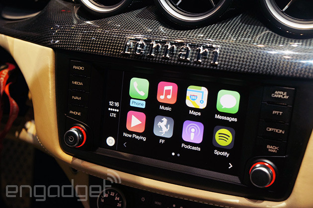 Ferrari shows off CarPlay with awful resistive touchscreen