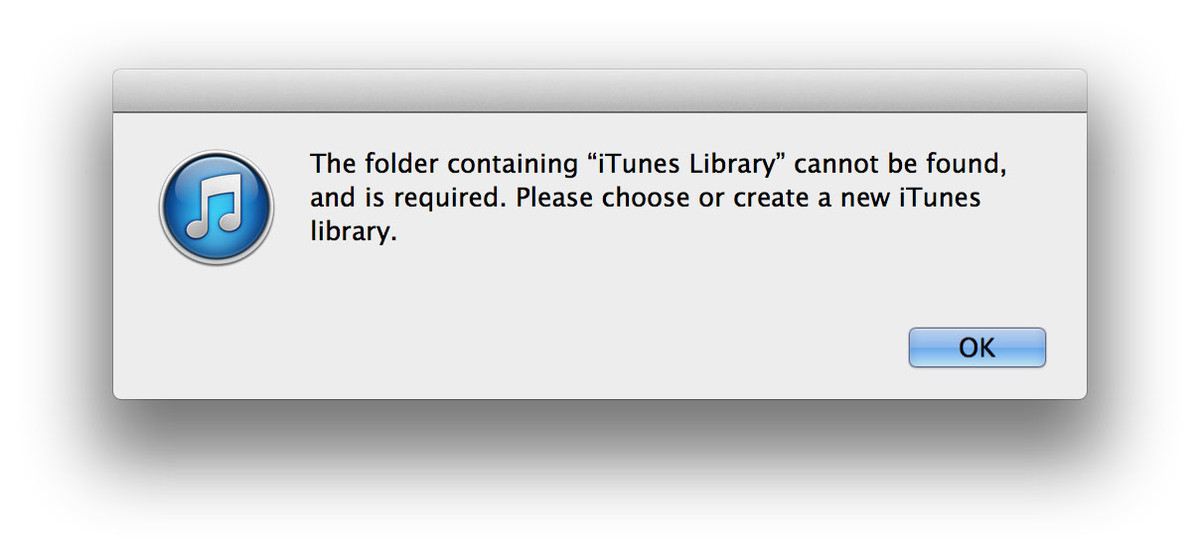 iTunes library is missing