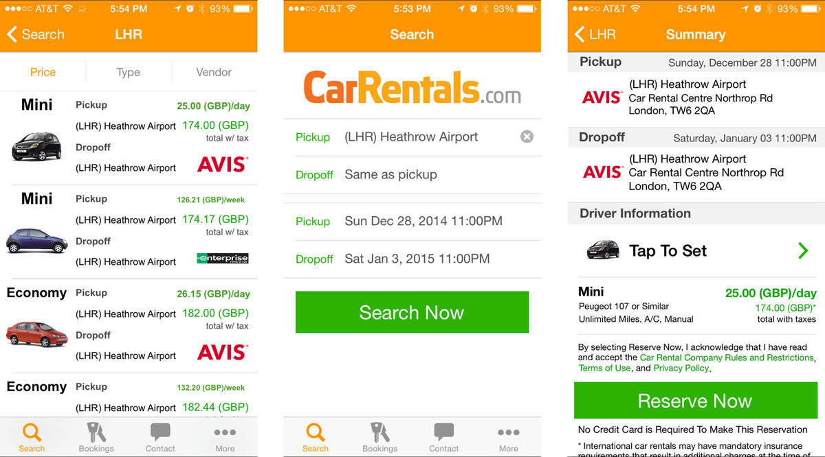 Best car rental apps for iPhone: CarRentals