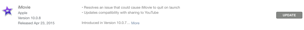iMovie Change Log