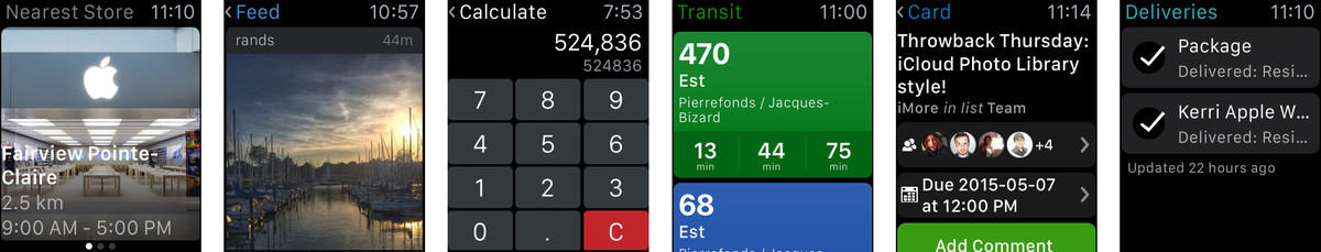 Apple Store, Instagram, PCalc, Transmit, Trello for Apple Watch