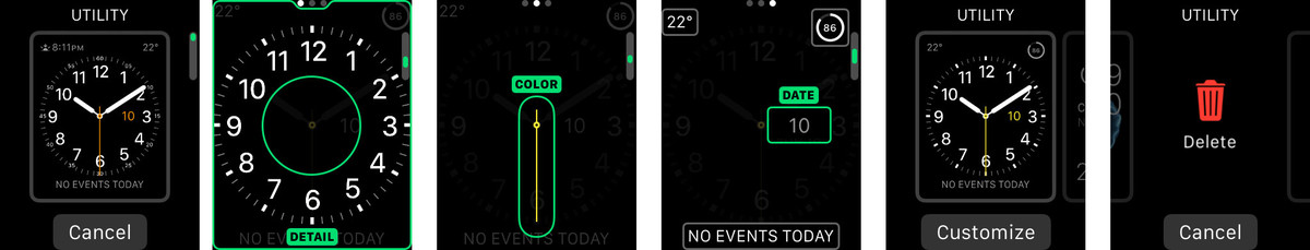 Adding a new clock face version, customizing details, color, and complications, and trashing it