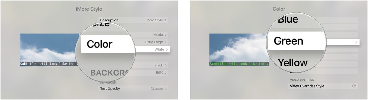choosing font color for closed captions on Apple TV