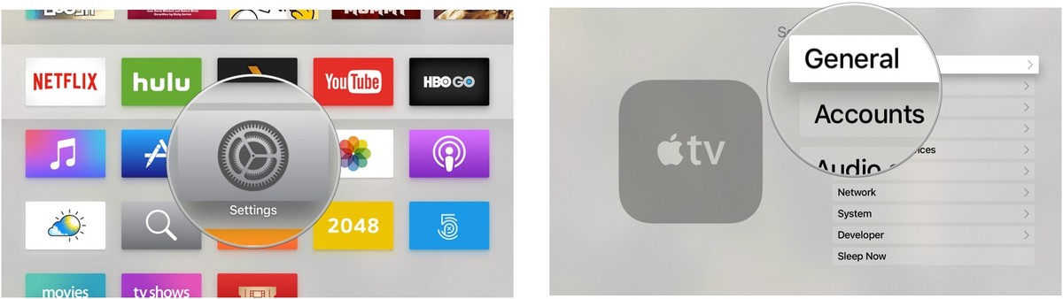 Opening the Settings app on Apple TV
