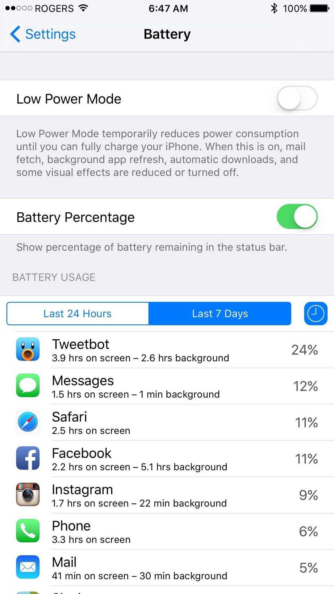 Facebook for iPhone battery usage