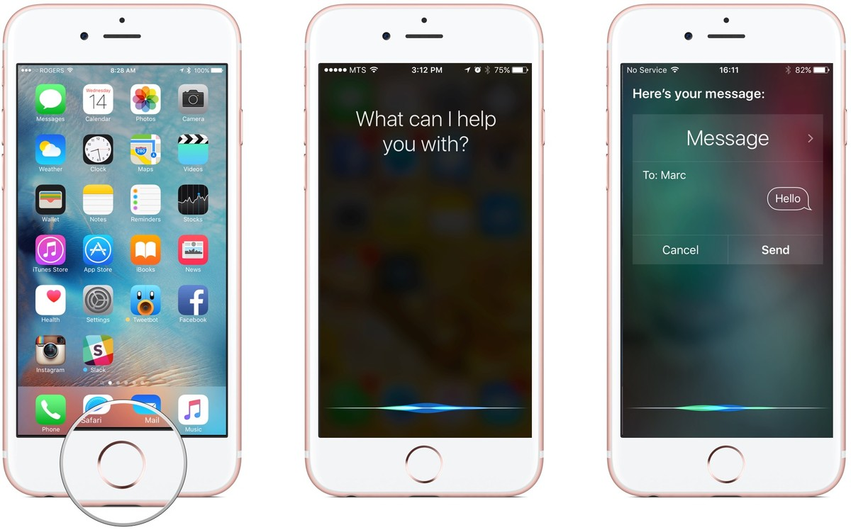 Activate Siri, tell Siri to send a message, dictate your message, say send