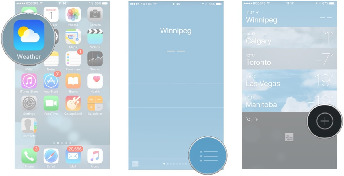 Launch the Weather app, tap on the list button and tap on the plus button.