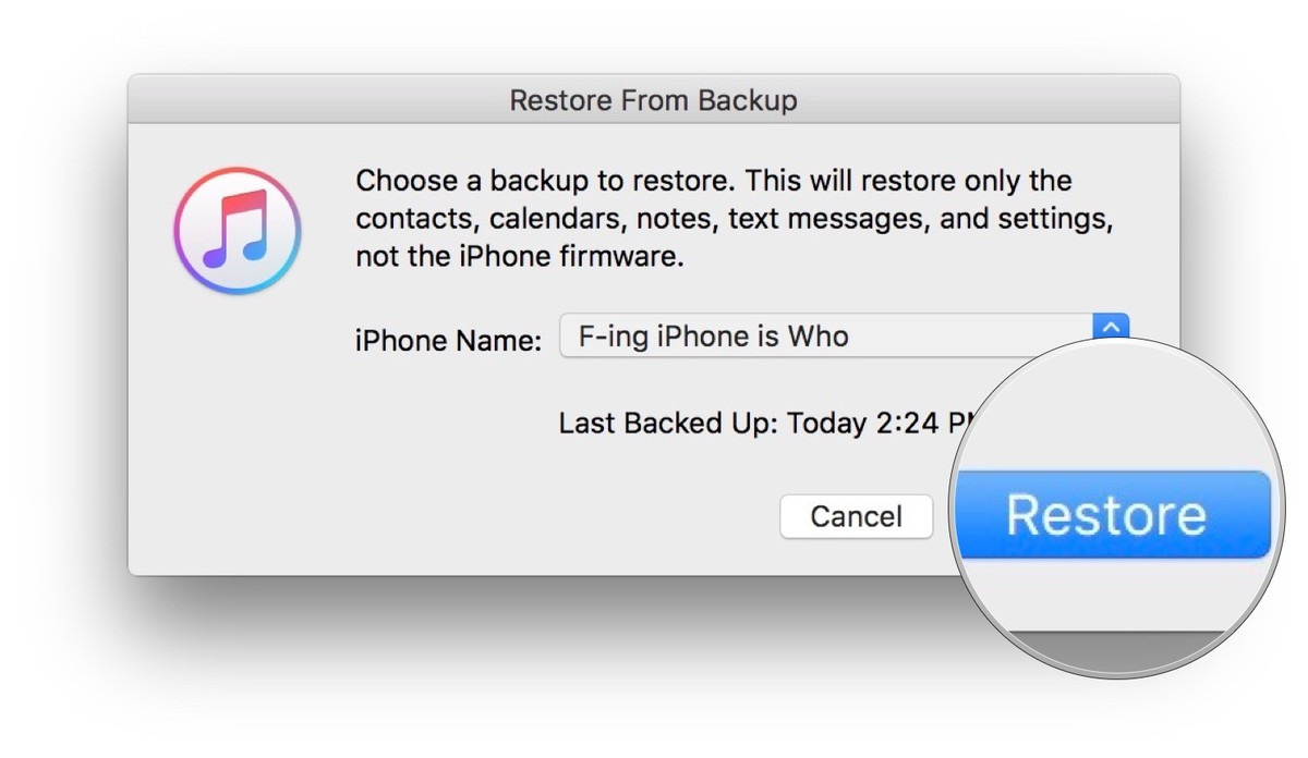 Choosing which device to backup in iTunes