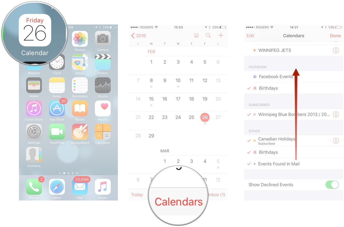 Open calendar, then tap calendars, then swipe up to scroll down to the bottom