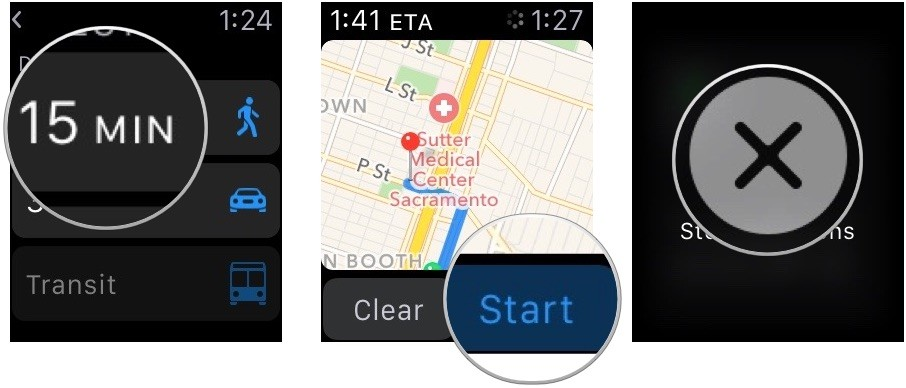 Getting directions in Apple Maps on Apple Watch