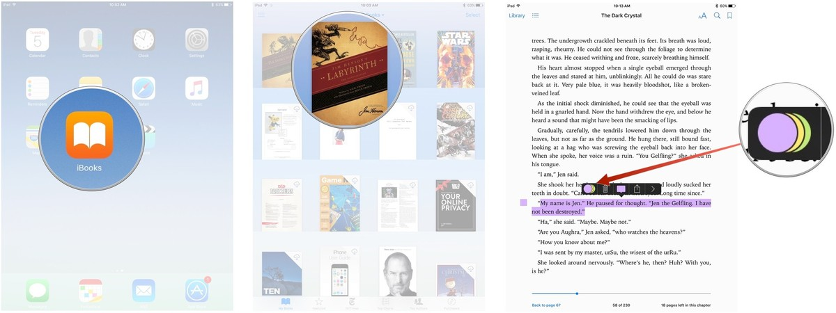 Changing the highlight color in iBooks