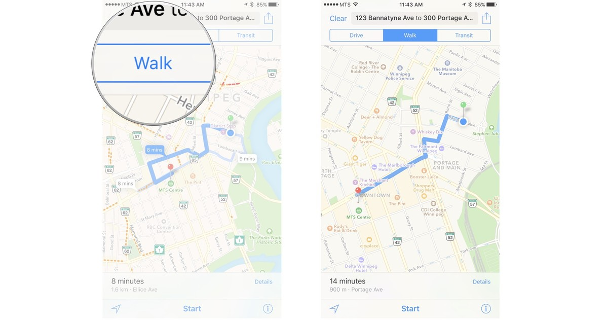 Tap on either Drive, Walk, or Transit to see directions for your desired method of travel.