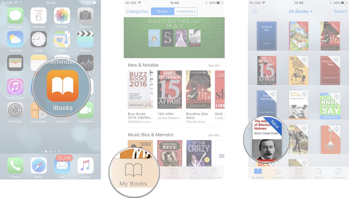 Launch iBooks, tap My Books, tap book