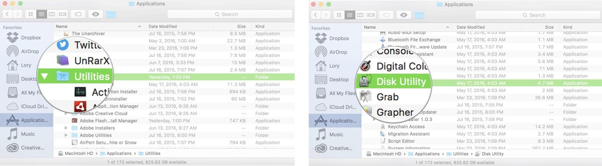 Selecting the Disk Utility app on Mac