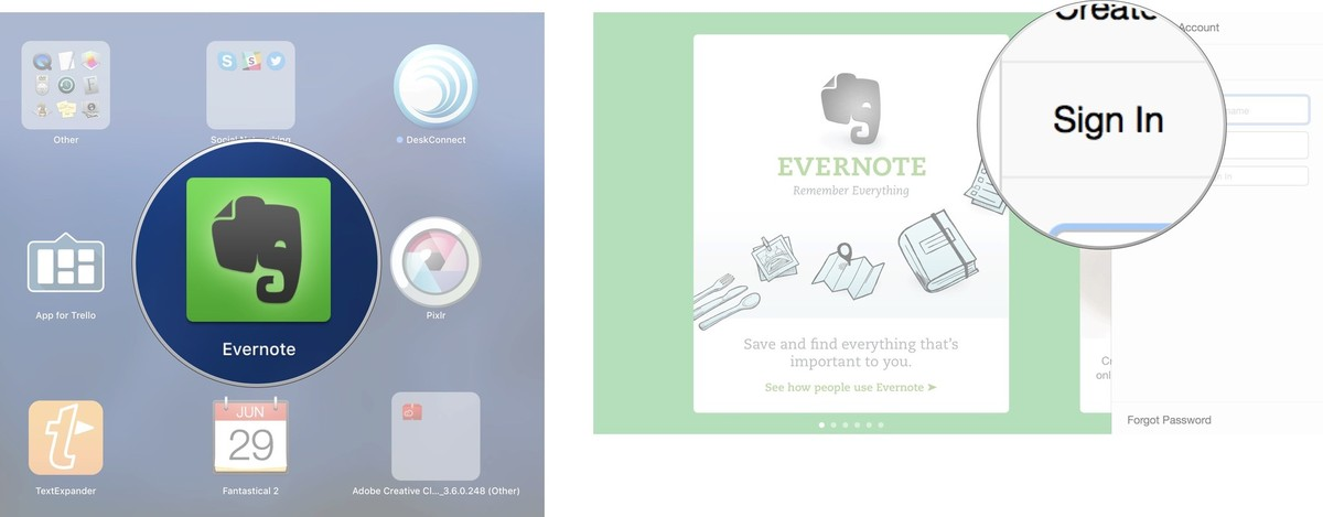 Signing into Evernote