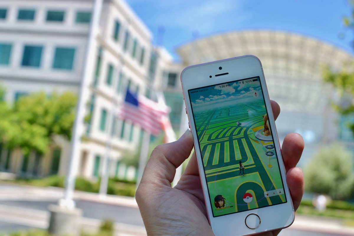 Playing Pokemon Go at Apple headquarters