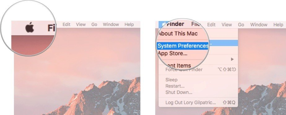 Opening Systems Preferences on Mac