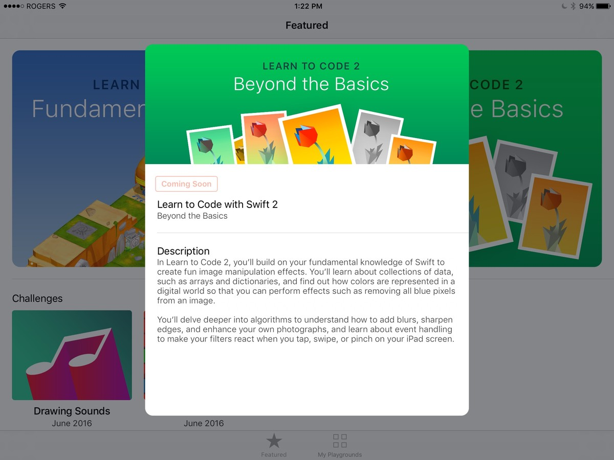 Swift Playgrounds lessons.